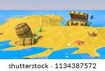 low poly beach. palm  sand  sea ... | Shutterstock . vector #1134387572