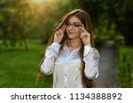 good looking young girl with... | Shutterstock . vector #1134388892