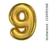 golden balloon font 3d... | Shutterstock . vector #1134391568