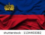 liechtenstein 3d wrinkled flag... | Shutterstock . vector #1134403382