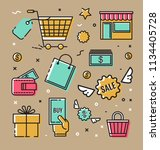 set  icons  symbols on the... | Shutterstock . vector #1134405728