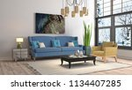 interior of the living room. 3d ... | Shutterstock . vector #1134407285