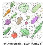 set  vegetable icons in flat... | Shutterstock . vector #1134408695