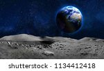 earth planet view from moon... | Shutterstock . vector #1134412418