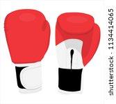 raster illustration red boxing... | Shutterstock . vector #1134414065