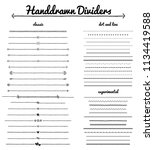 divider collection.  handdrawn... | Shutterstock .eps vector #1134419588