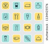 cafe icons set with plate ... | Shutterstock .eps vector #1134425576