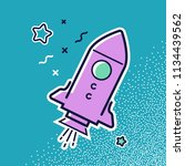 space ship and stars.  icon in... | Shutterstock . vector #1134439562
