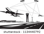 air traffic management   vector ... | Shutterstock .eps vector #1134440792
