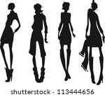 silhouette fashion girls | Shutterstock .eps vector #113444656