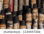 oil drill pipe. rusty drill... | Shutterstock . vector #1134447206
