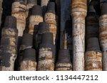 oil drill pipe. rusty drill... | Shutterstock . vector #1134447212