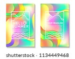 summer cards with bright... | Shutterstock .eps vector #1134449468