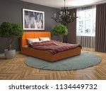 bedroom interior. 3d... | Shutterstock . vector #1134449732