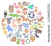 cute cartoon animals set. | Shutterstock .eps vector #1134452252