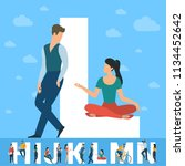 big l letter. white letter with ... | Shutterstock .eps vector #1134452642