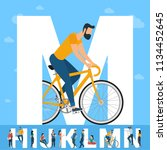 big m letter. white letter with ... | Shutterstock .eps vector #1134452645