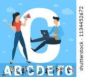 big c letter. white letter with ... | Shutterstock .eps vector #1134452672