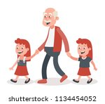 grandfather with his... | Shutterstock .eps vector #1134454052