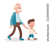 grandfather and grandson... | Shutterstock .eps vector #1134454055