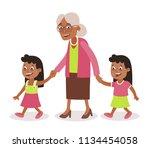 grandmother with her... | Shutterstock .eps vector #1134454058