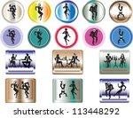 buttons of dancing people. | Shutterstock .eps vector #113448292