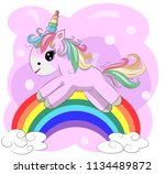 a little pink cute cartoon... | Shutterstock . vector #1134489872