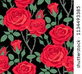 floral seamless pattern of red... | Shutterstock .eps vector #1134493385