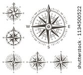 retro nautical compass. vintage ... | Shutterstock .eps vector #1134500522