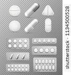 pills 3d set. white tablet ... | Shutterstock .eps vector #1134500528