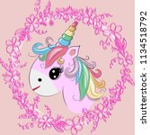 the cute magic unicorn and... | Shutterstock . vector #1134518792