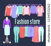 clothing store background.... | Shutterstock .eps vector #1134523262