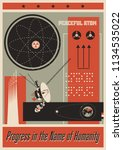 vintage science and space... | Shutterstock .eps vector #1134535022