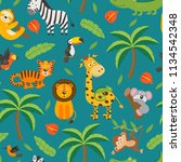 seamless pattern with jungle... | Shutterstock .eps vector #1134542348