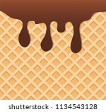 dark chocolate melted on wafer... | Shutterstock .eps vector #1134543128