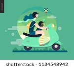girl on a scooter   flat vector ... | Shutterstock .eps vector #1134548942