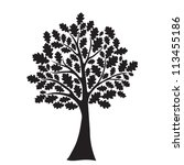 black oak tree  stylized ... | Shutterstock .eps vector #113455186
