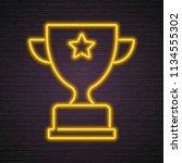 championship cup neon light... | Shutterstock .eps vector #1134555302