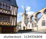 viaduct and traditional houses... | Shutterstock . vector #1134556808