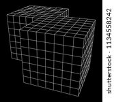 wireframe mesh doubled box.... | Shutterstock . vector #1134558242