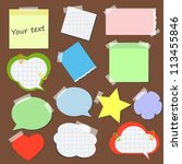 set of stickers and  reminders... | Shutterstock .eps vector #113455846