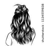loose curly long hair with... | Shutterstock .eps vector #1134559838
