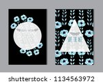 elegant cards with decorative... | Shutterstock .eps vector #1134563972
