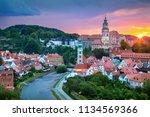 cesky krumlov. aerial cityscape ... | Shutterstock . vector #1134569366