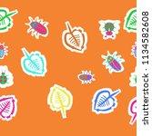stylized  leaves  lady bugs  ...   Shutterstock . vector #1134582608