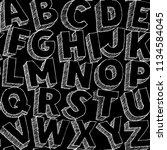 hand drawn vector alphabet... | Shutterstock .eps vector #1134584045