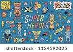 super heroes power funny wacky... | Shutterstock .eps vector #1134592025