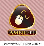 gold emblem or badge with... | Shutterstock .eps vector #1134596825