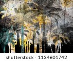 tropical palm grunge background ...   Shutterstock . vector #1134601742