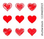 set of stylized hearts. vector... | Shutterstock .eps vector #1134602015